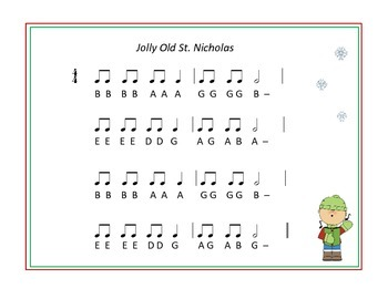Jolly Old Saint Nicholas - for Bells and/or  Boomwhackers, Recorder, Uke, Voice