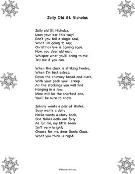 Jolly Old St. Nicholas Poem and Comprehension Worksheet for December Winter
