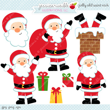 Jolly Old St. Nick - Cute Digital Clipart, Christmas Graphics