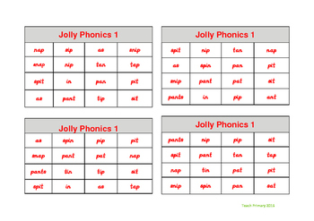 Jolly Phonics Bingo Group 1 sounds