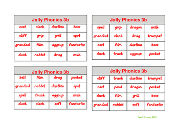 Jolly Phonics Bingo Group 3 sounds set 2