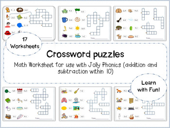 Jolly Phonics Math Crossword puzzles (addition and subtraction within 10)