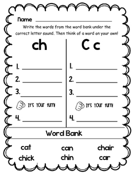Phonics Sort and Write Worksheets