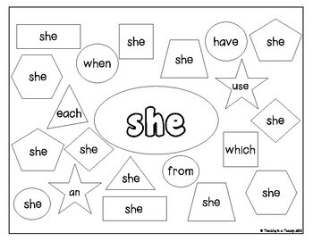 Jolly Phonics Tricky Words Booklet - Color the Shape