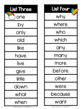 Jolly Phonics Tricky Words Lists - Jolly Grammar One