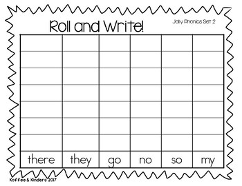 Jolly Phonics Tricky Words Roll and Write Center - Set 2
