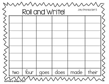 Jolly Phonics Tricky Words Roll and Write Center - Set 5