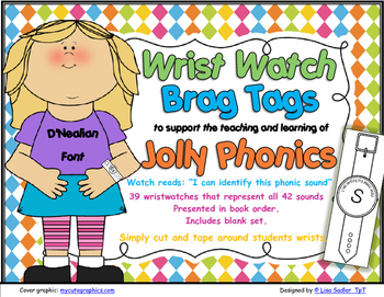 Phonics Wrist Watches-Brag Tags -D'Nealian Font