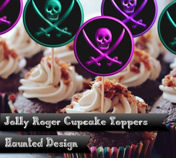Jolly Roger Cupcake Toppers in pink turquoise and purple 2 inch party circle