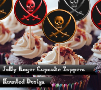 Jolly Roger Cupcake toppers 2 inch circles in red gold and silver download