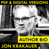 Jon Krakauer Author Study Worksheet, Easy Biography Activity, CCSS