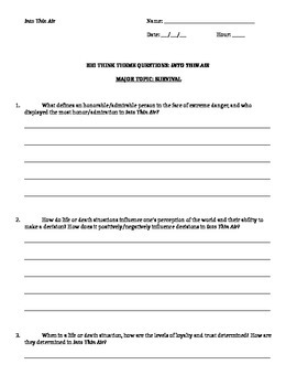 Jon Krakauer - Into Thin Air - Big Think Essay Questions Handout