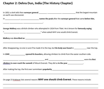 Jon Krakauer - Into Thin Air - Chapter 1 and 2 Notes Template and Answer Key