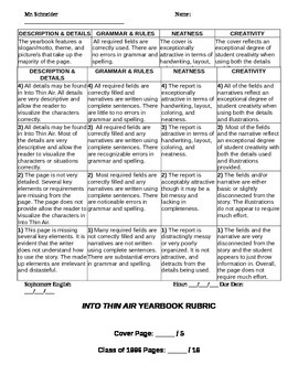 Jon Krakauer - Into Thin Air - Yearbook Project Instructions - Template - Rubric