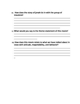 Jonah: A Veggie Tales Movie Worksheet