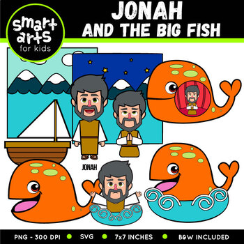 Jonah And The Big Fish Clip Art