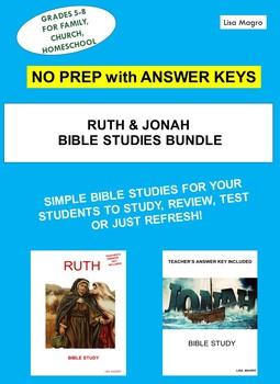 Jonah & Ruth Bible Studies Bundle - No Prep w/Ans Key