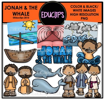 Jonah & The Whale Clip Art Bundle {Educlips Clipart}