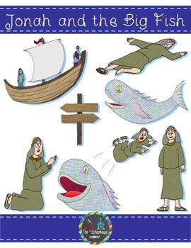Jonah and the Big Fish Clipart in Color and Black & White