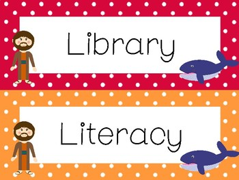 Jonah and the Whale Classroom Center Sign Labels. Bible Bulletin Board Set.