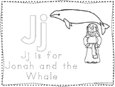 Jonah and the Whale Color and Trace Worksheet. Preschool-Kindergarten Bible