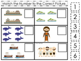 Jonah and the Whale Match the Number printable game. Preschool Bible Study Curri
