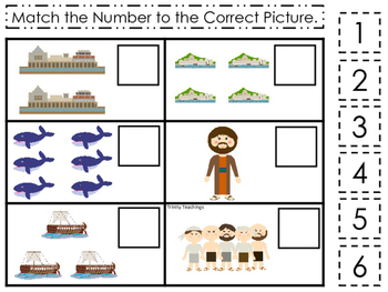 Jonah and the Whale Match the Number printable game. Presc