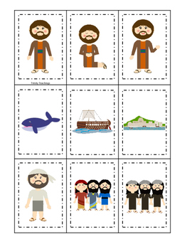 Jonah and the Whale Memory Match printable game. Preschool Bible Curriculum