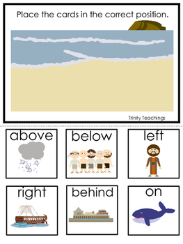 Jonah and the Whale Positional Game printable game. Preschool Bible Study Curric