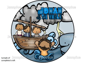 Jonah and the whale circle scene craft- Bible craft for kids