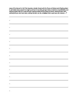 "Jonathan Edwards ""Sinners In The Hands of An Angry God"" Comprehension Worksheet"