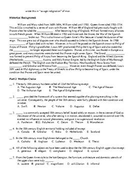 Jonathan Swift & 18th Century Quiz (45q) and KEY