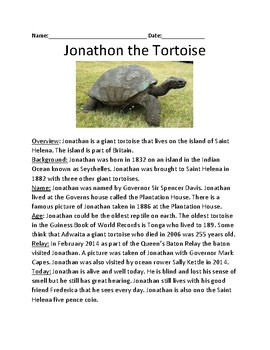 Jonathan the Tortoise - Oldest Tortoise lesson facts information life story