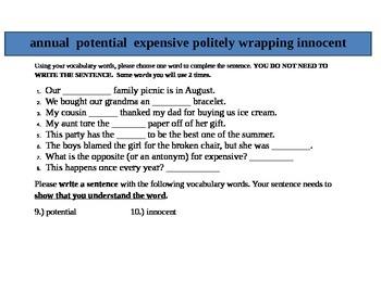 Jones Family Express Center Vocabulary Test