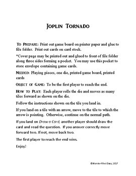 Joplin Tornado Game: Tornado Review Activity