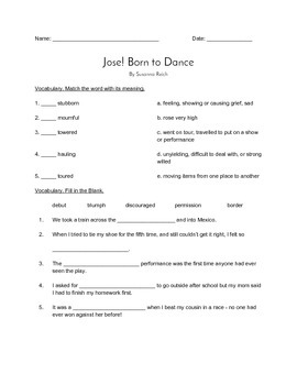 """Jose! Born To Dance"" QUIZ (Journeys Grade 4 Reader)"