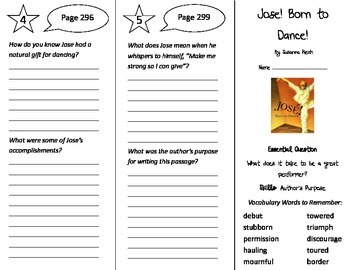 Jose! Born to Dance! Trifold - Journeys 4th Grade Unit 2 Week 5 (2014, 2017)