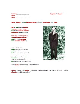 José Martí Poetry Project for Spanish 1