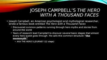 Joseph Campbell's Hero's Journey introduction powerpoint