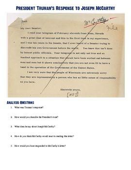 Joseph McCarthy - President Truman Letters Worksheet