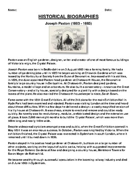 Joseph Paxton Biography Article and (3) Assignments