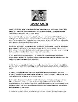 Joseph Stalin Biography Article and Assignment Worksheet