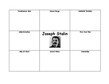 Joseph Stalin Graphic Organizer with Answer Key