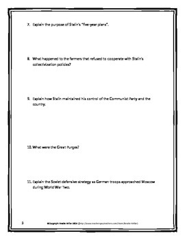 Joseph Stalin - Webquest with Key (World War Two) WWII