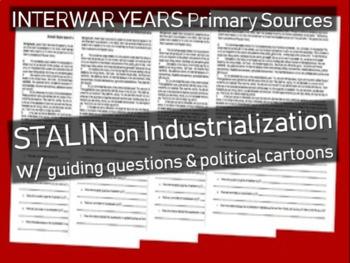 Joseph Stalin primary source on Industrialization: abridged w/ Document-based Qs