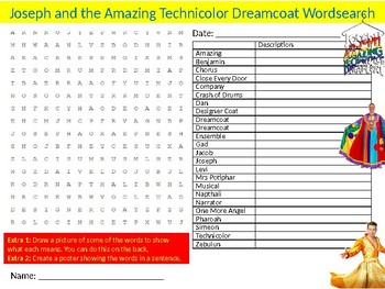 Joseph and the Amazing Technicolor Dreamcoat Wordsearch Sheet Starter Drama