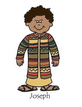 Joseph and the Coat of Many Colors Coloring Sheet - B&W line drawing