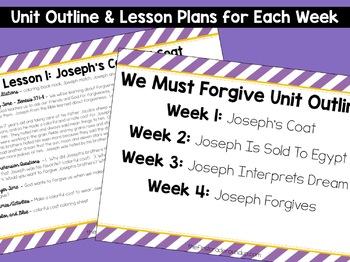 Joseph's Colorful Coat Bible Unit on Forgiveness