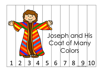 Joseph themed 1-10 Sequence Puzzle printable game. Preschool Bible Study Cu