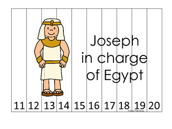 Joseph themed 11-20 Sequence Puzzle printable game. Preschool Bible Study Cu